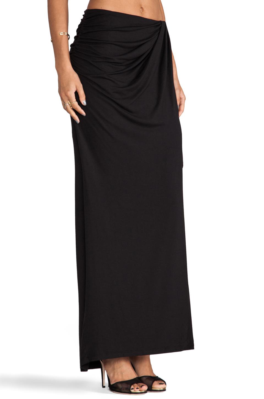 draped wrap maxi skirt in black revolve