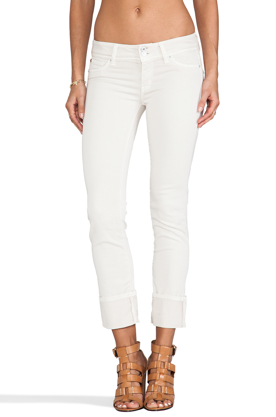 Hudson Jeans Ginny Crop Straight with Cuff in Shell