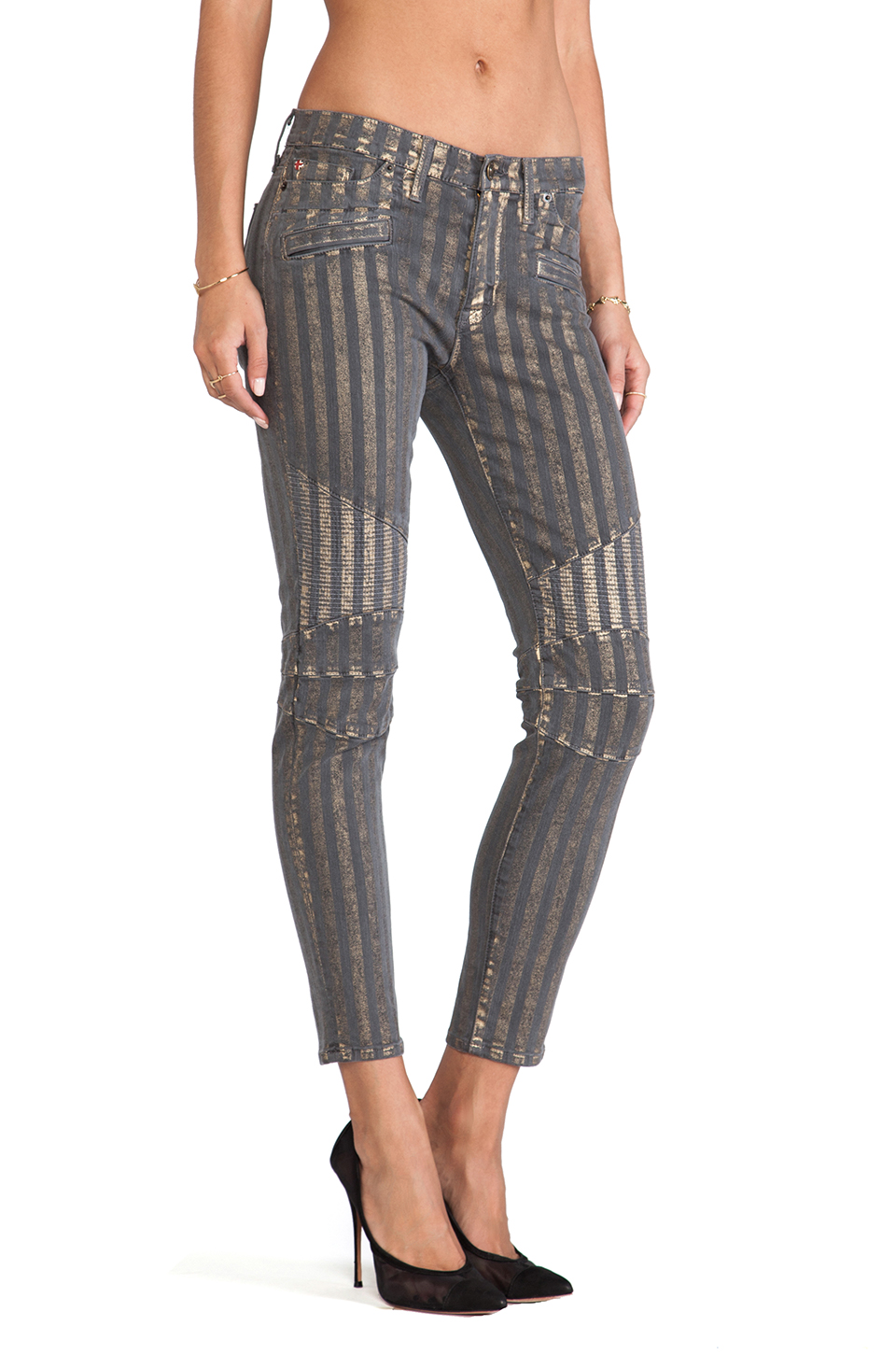 Hudson Jeans Moto Striped Skinny in Grey/Gold
