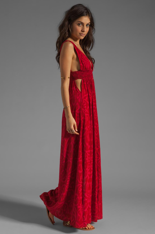 Indah Anjeli Empire Maxi Dress in Antik Red