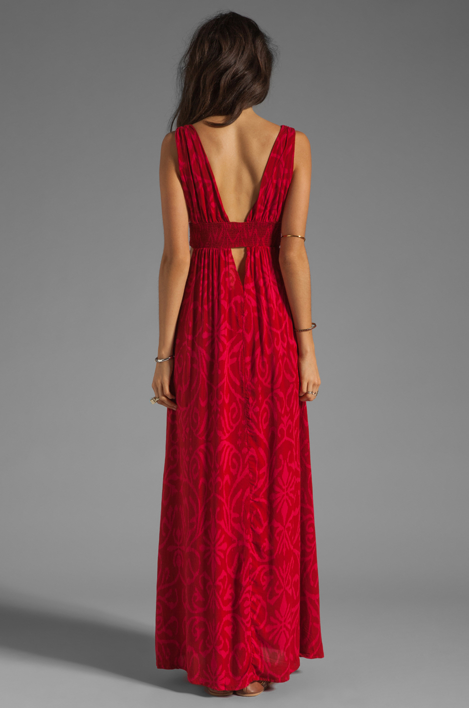 Indah Anjeli Empire Maxi Dress in Antik Red