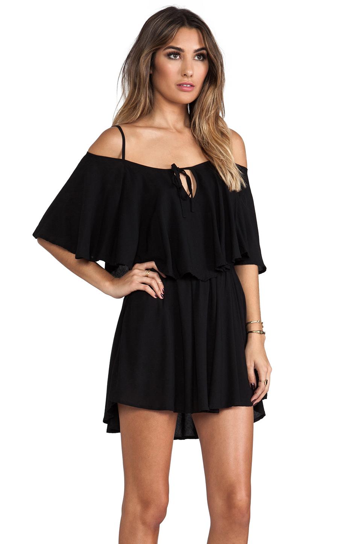 Indah Zhina Rayon Chiffon Flounce Mini Dress in Black