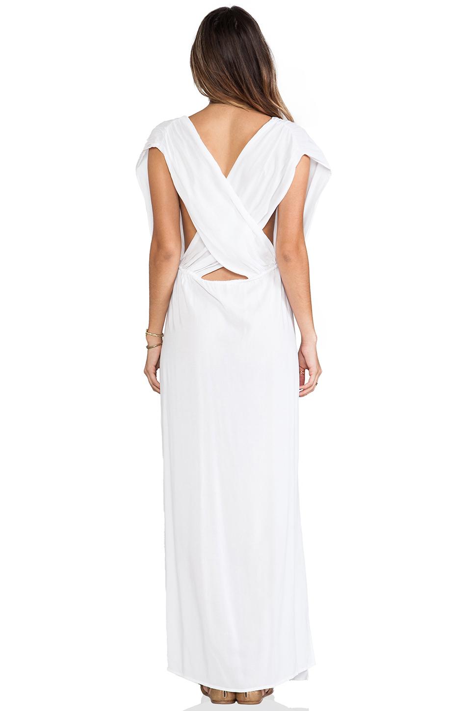 Indah Jade V Neck Draped Lounge Dress in White