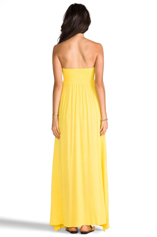Indah Zanzi Rayon Crepe Pinch Front Smocked Bust Strapless Maxi Dress in Sunshine