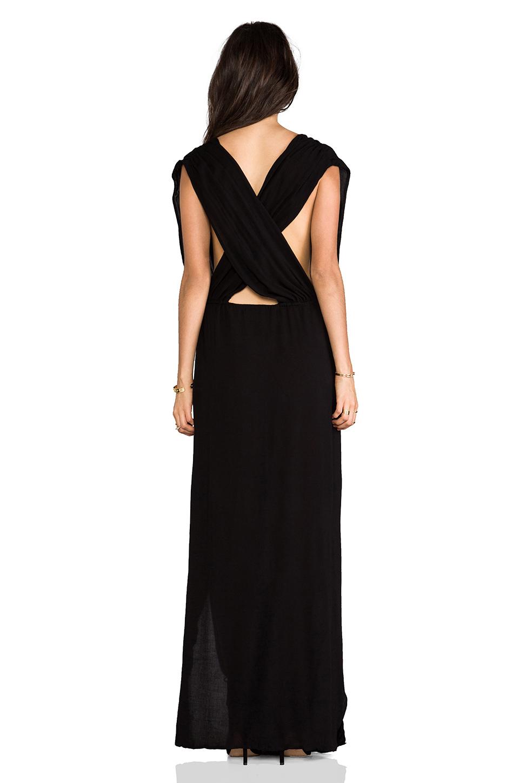 Indah Jade Rayon Crepe Plunging V-Neck Draped Cross Back Maxi Lounge Dress in Black