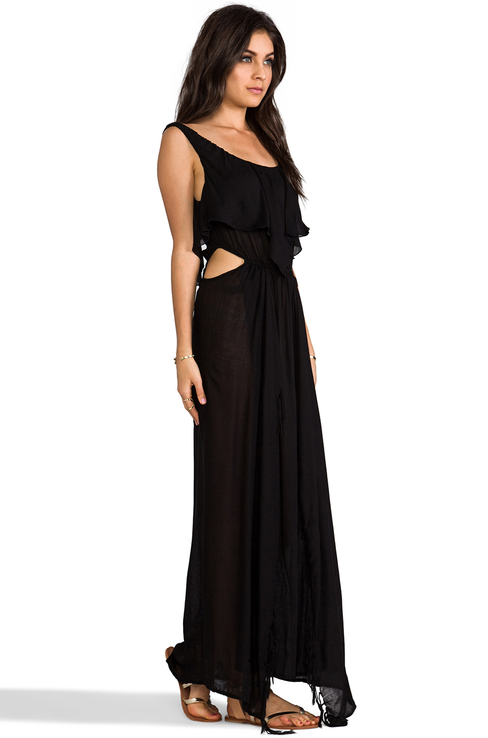 Indah Zanzibar Flounce Cut Out Maxi Dress in Black