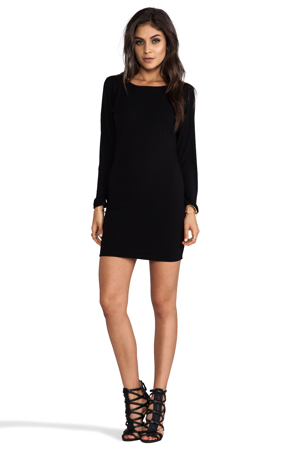 Indah Vida Open Back Day to Night Mini Dress in Black