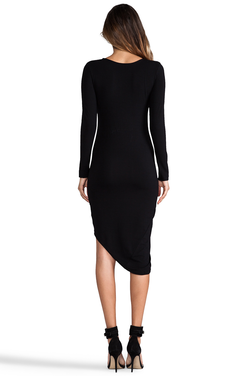 Indah Saliu Long Sleeve Sexy Dress in Black