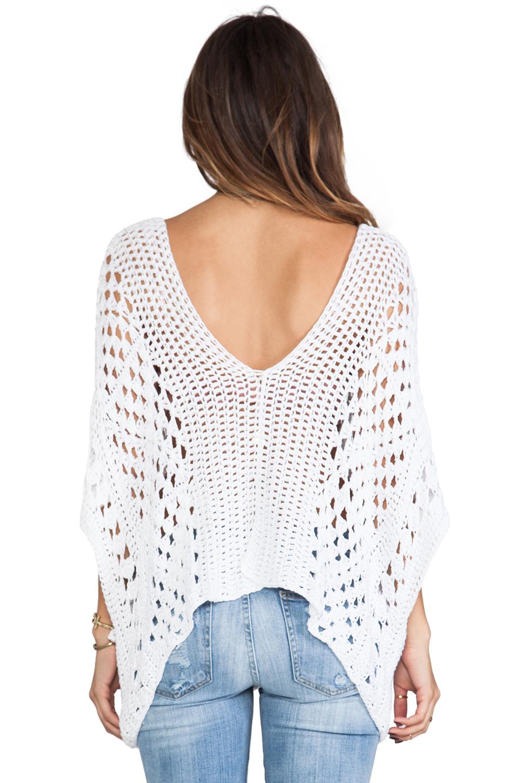 Indah Mancora Crochet Pancho in White