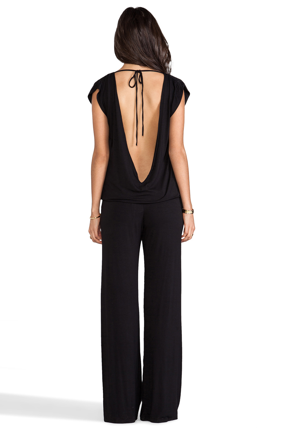 Indah Sooty Open Back Lounge Pantsuit in Black
