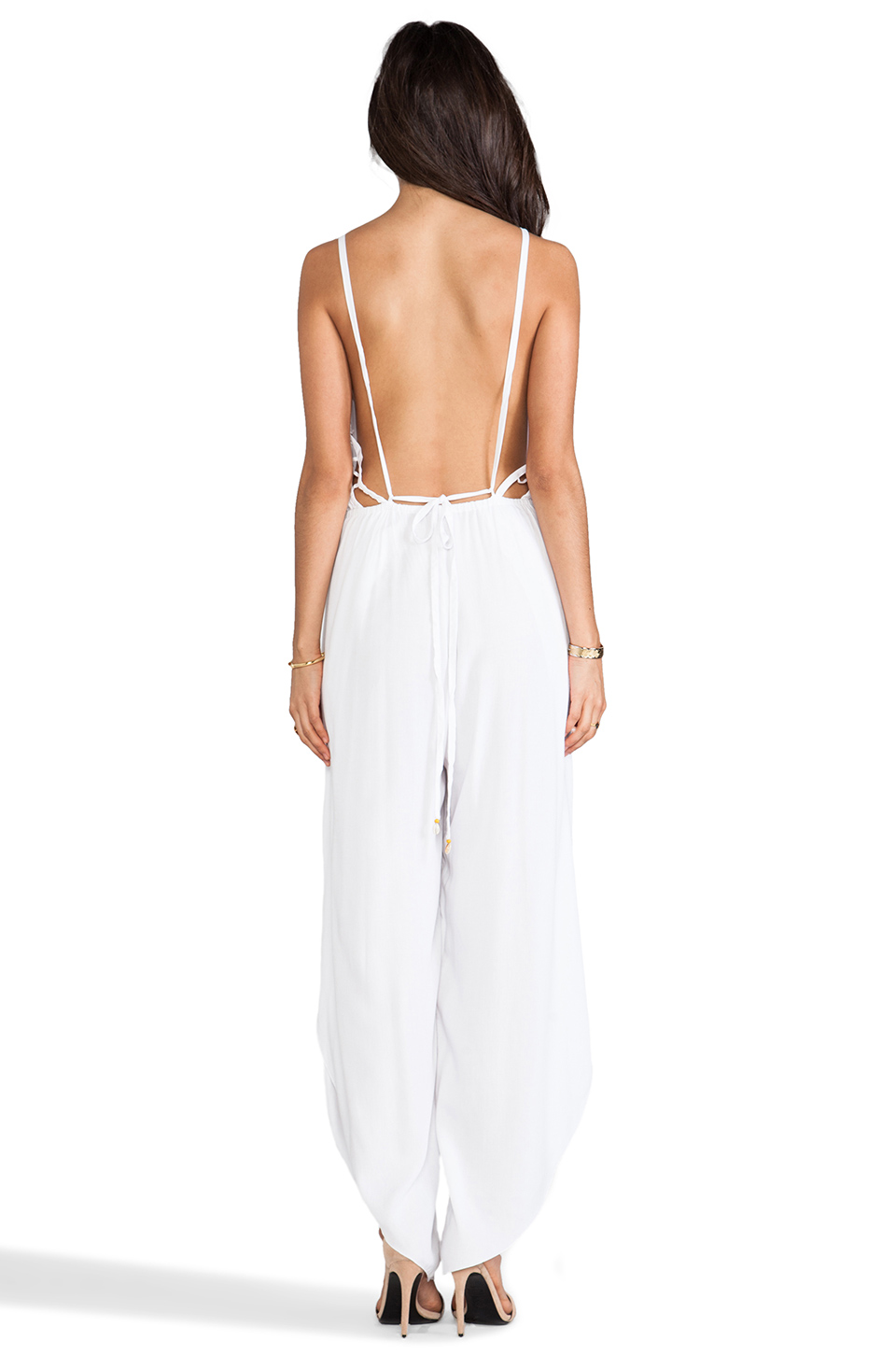 Indah Gypsy Deep V Cut Out Trim Jumpsuit in White