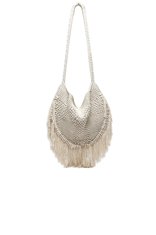 Indah Seasame Hand Crochet Fringe Bag in Natural & Leopard REVOLVE