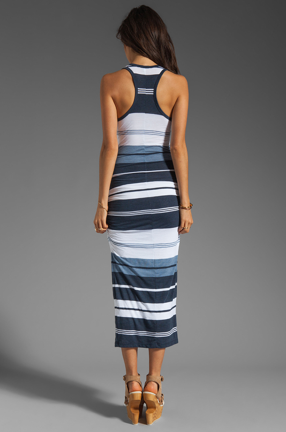 James Perse Pacific Stripe Racerback Dress in Navy/White