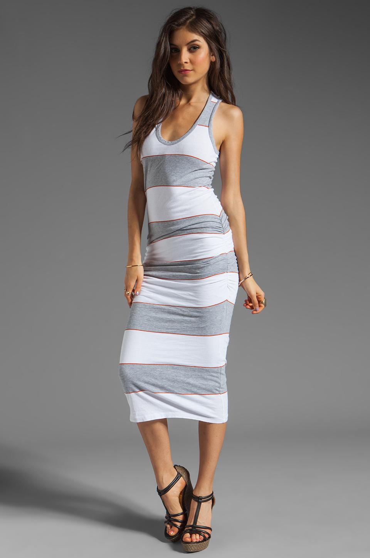 James Perse Coastal Stripe Tank Dress in Heather Grey/White