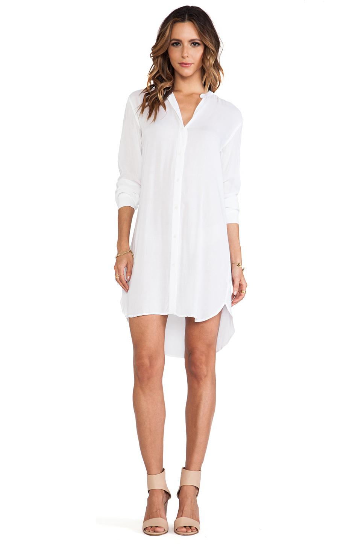 James Perse Collarless Shirt Dress in White | REVOLVE