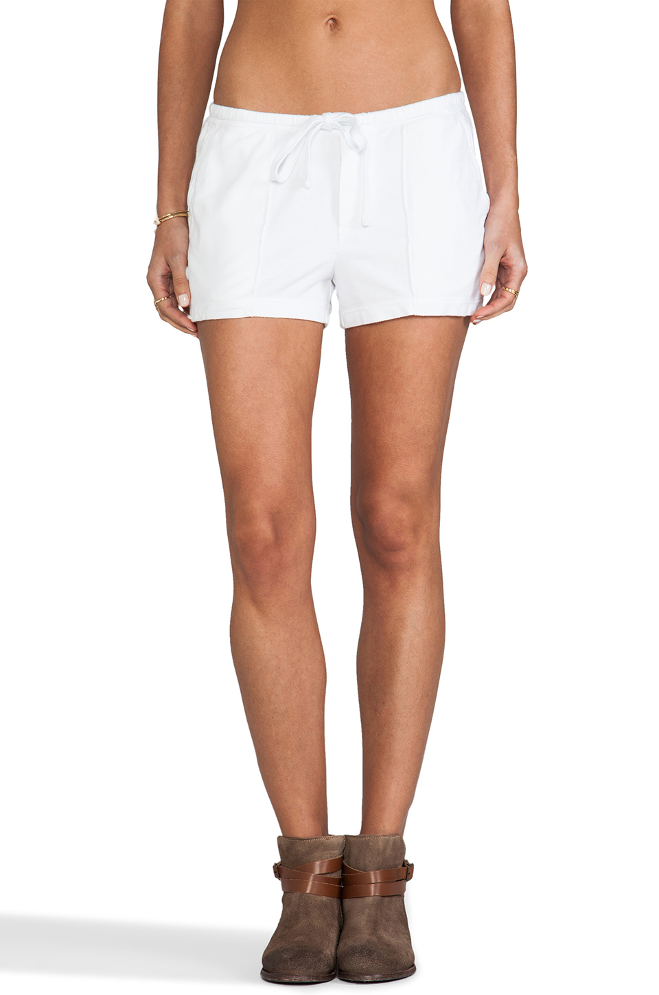 James Perse Pintucked Twill Short in White