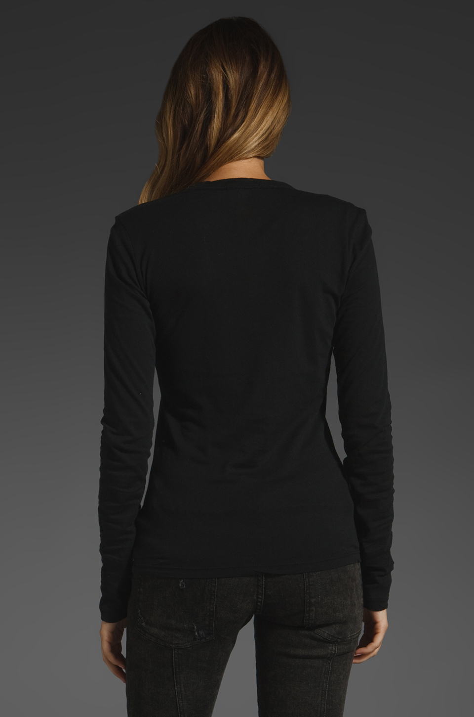 James Perse Long Sleeve Crew Neck in Black