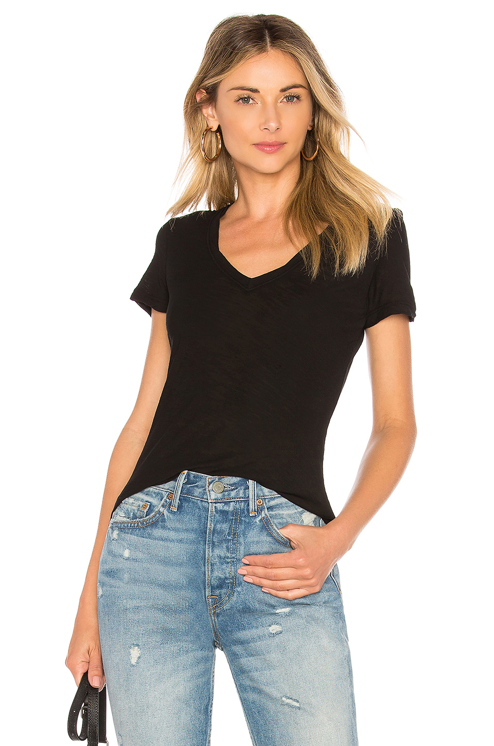 James Perse Casual V Neck Tee with Reverse Binding in Black