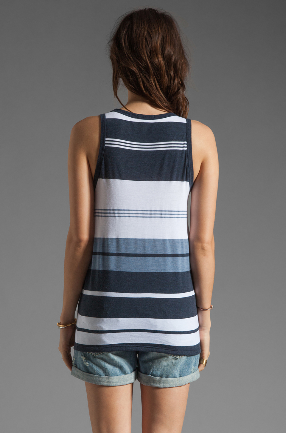 James Perse Pacific Stripe Boxy Tank in Navy/White