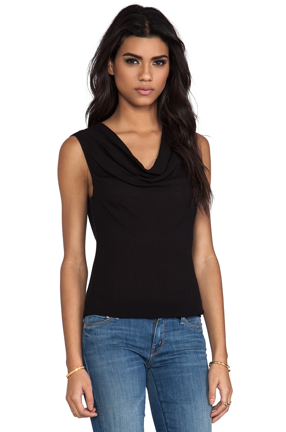 James Perse Woven Cowl Tank in Black