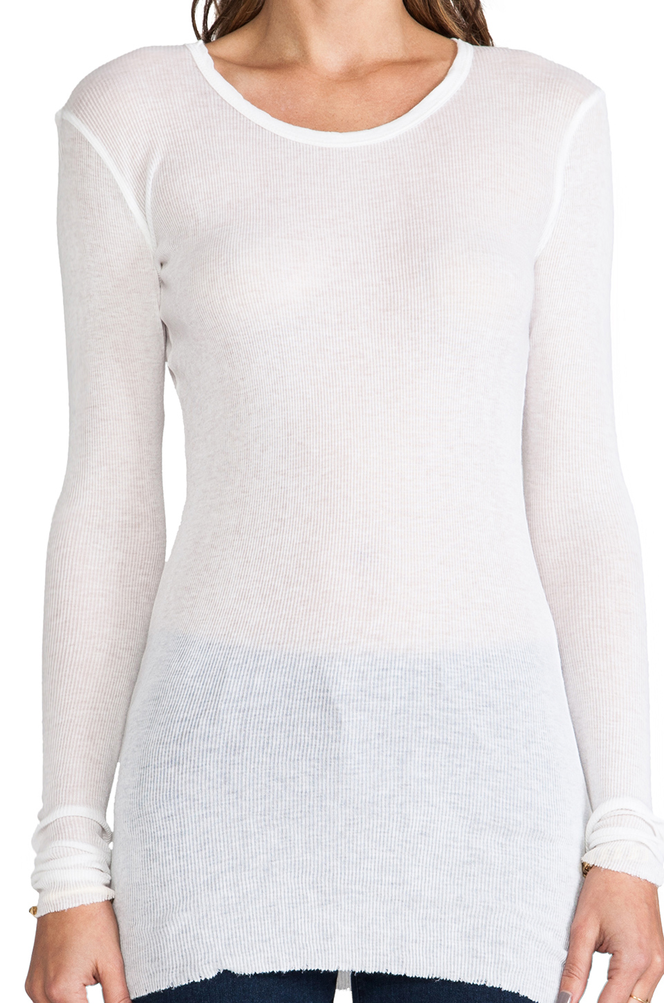 James Perse Cashmere Rib Long Sleeve Crew in White