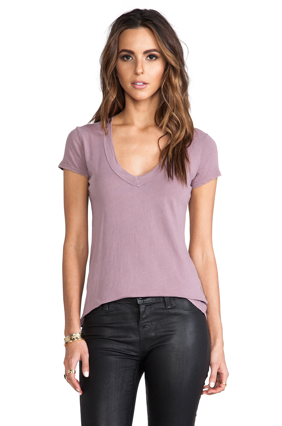 James Perse Short Sleeve V Neck in Mauve