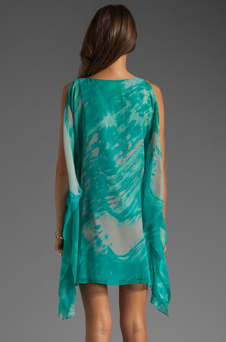 Jay Godfrey Brin Kimono Dress in Aqua Putty Multi