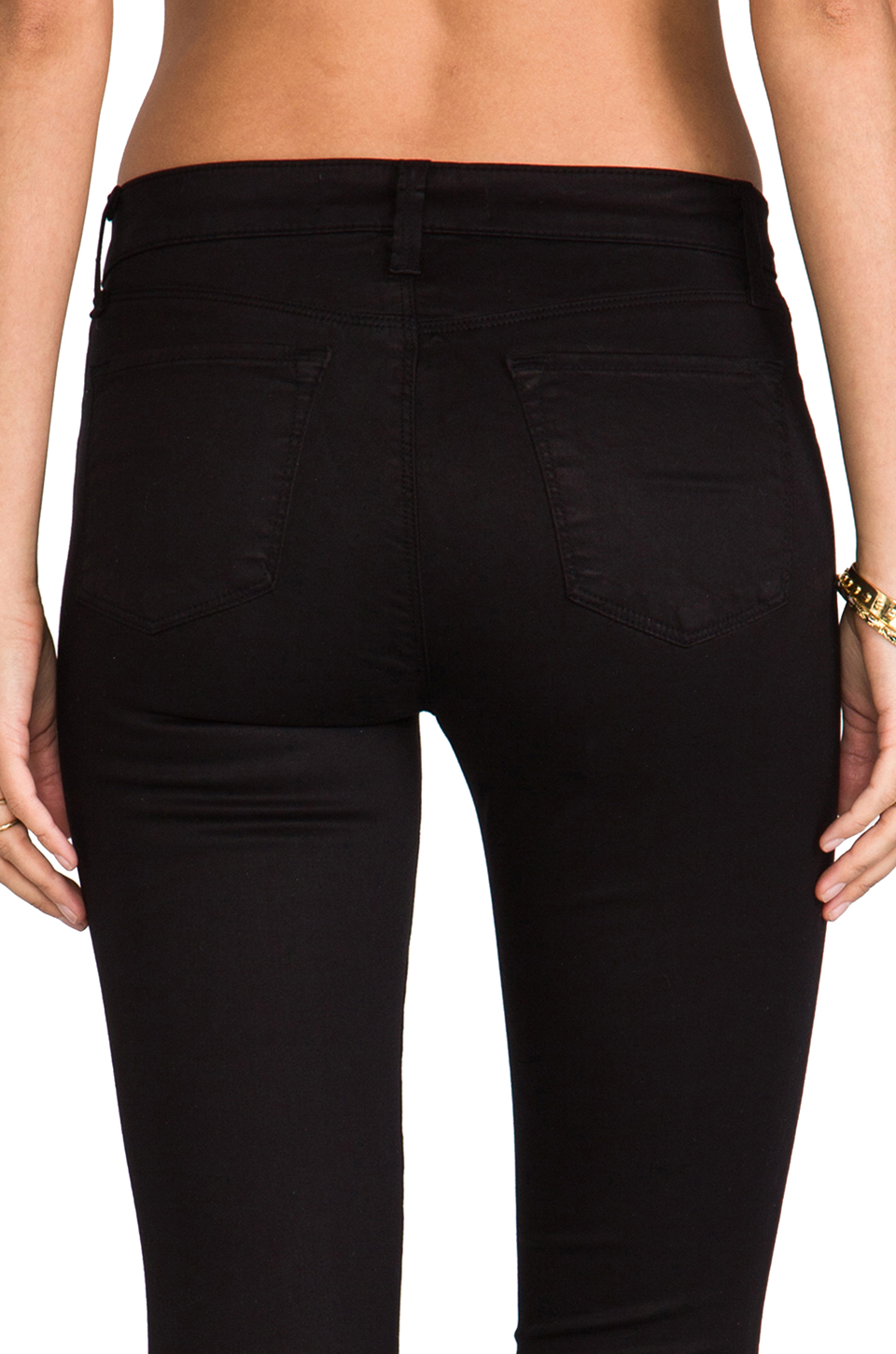 J Brand Mid Rise Super Skinny in Black