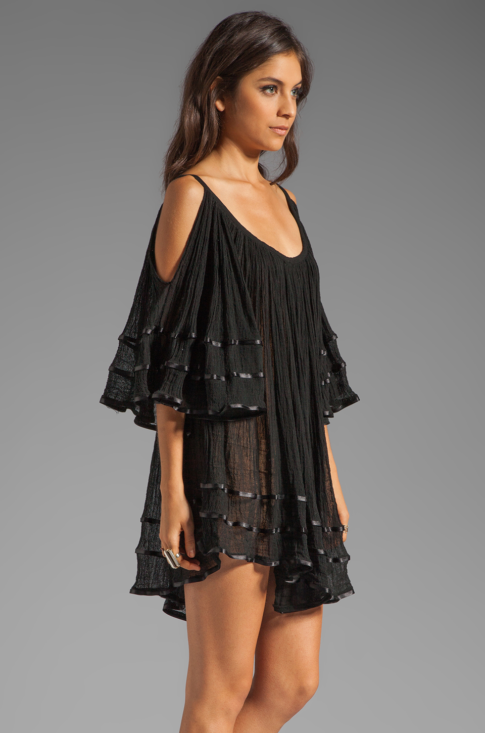 Jen's Pirate Booty Nena Open Shoulder Dress in Black
