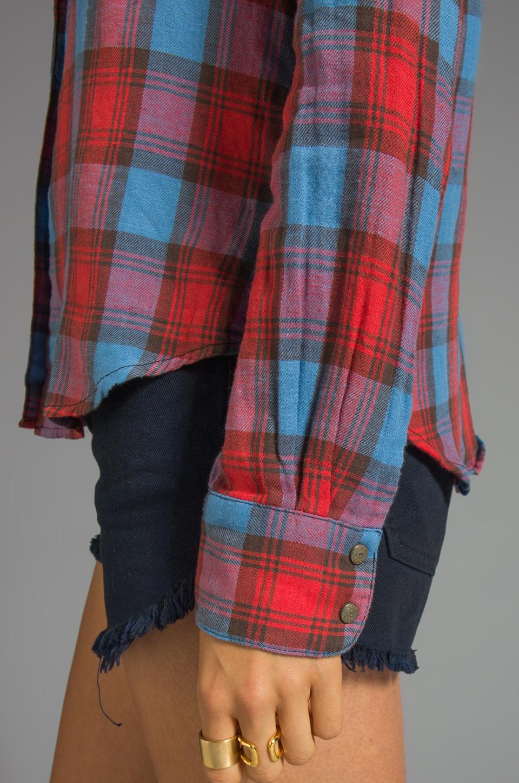 Joe's Jeans Plaid Button Down Shirt in Crimson