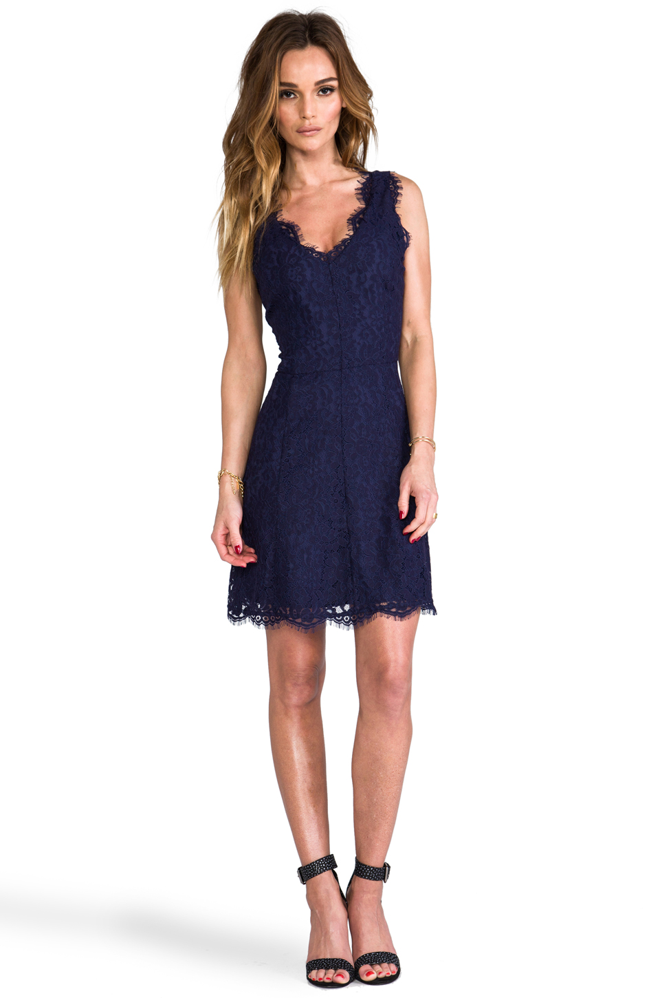 Joie Allover Lace Nikolina B Dress in Royal Navy