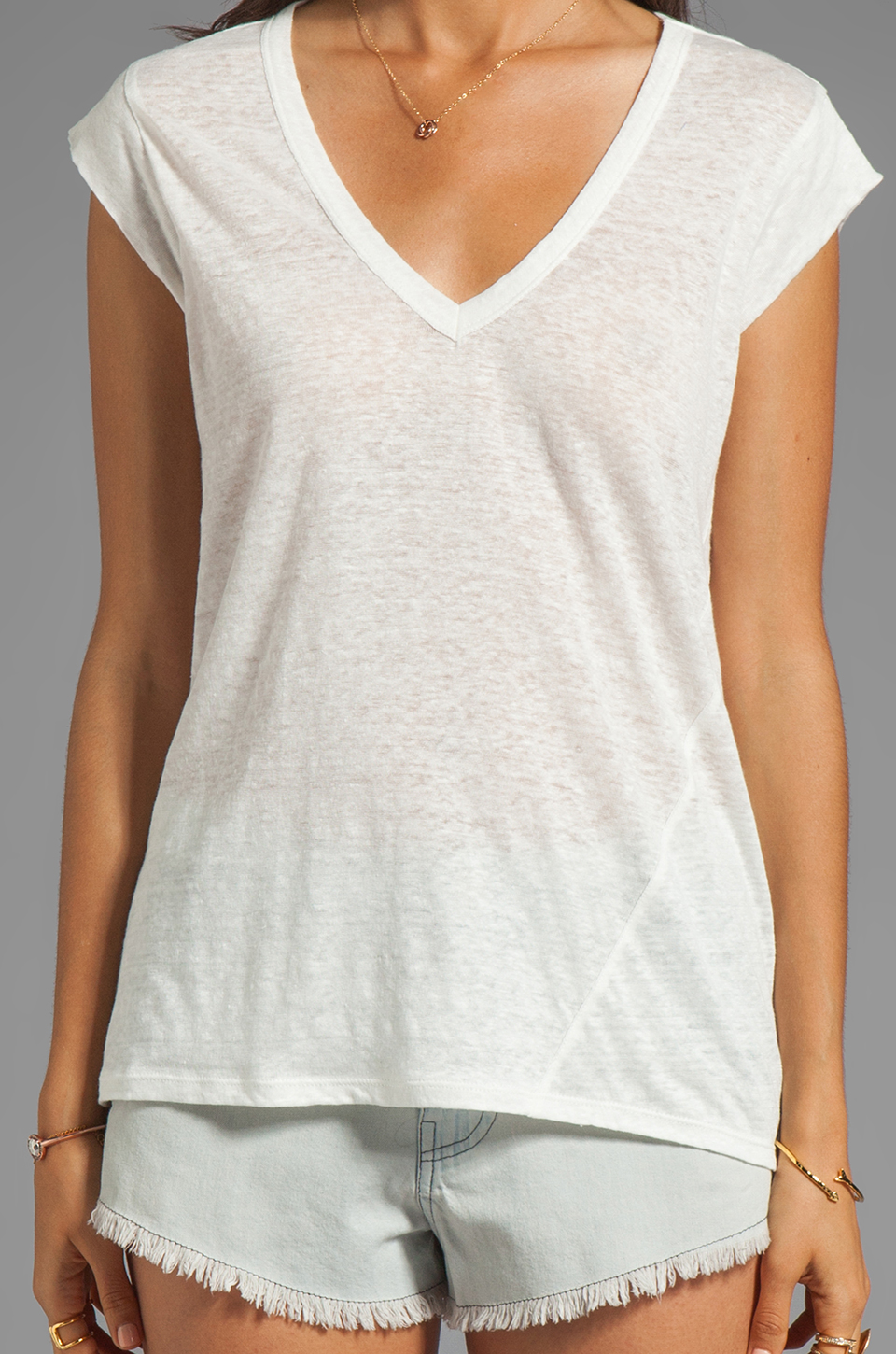 Joie Yulina Linen Tee in Porcelain
