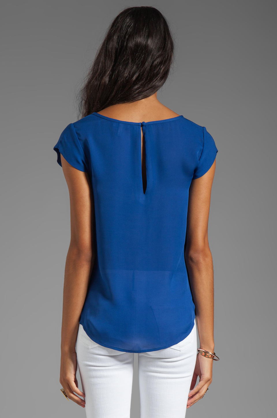 Joie Matte Silk Rancher Top in Peruvian Blue