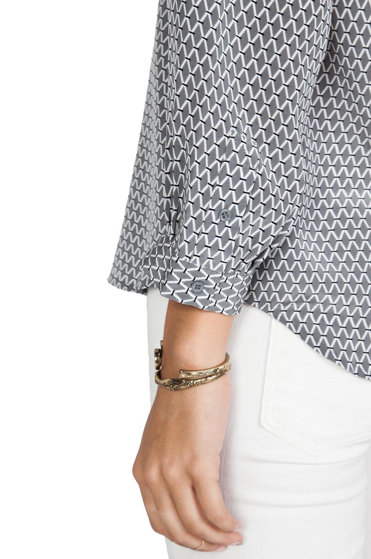 Joie Ting Long Diamond Printed Savory Silk Hanelli Top in Dark Grey