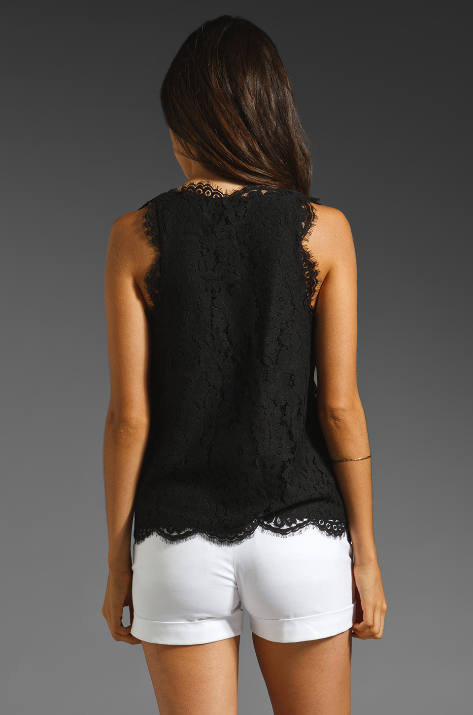 Joie Cina Lace Tank in Caviar