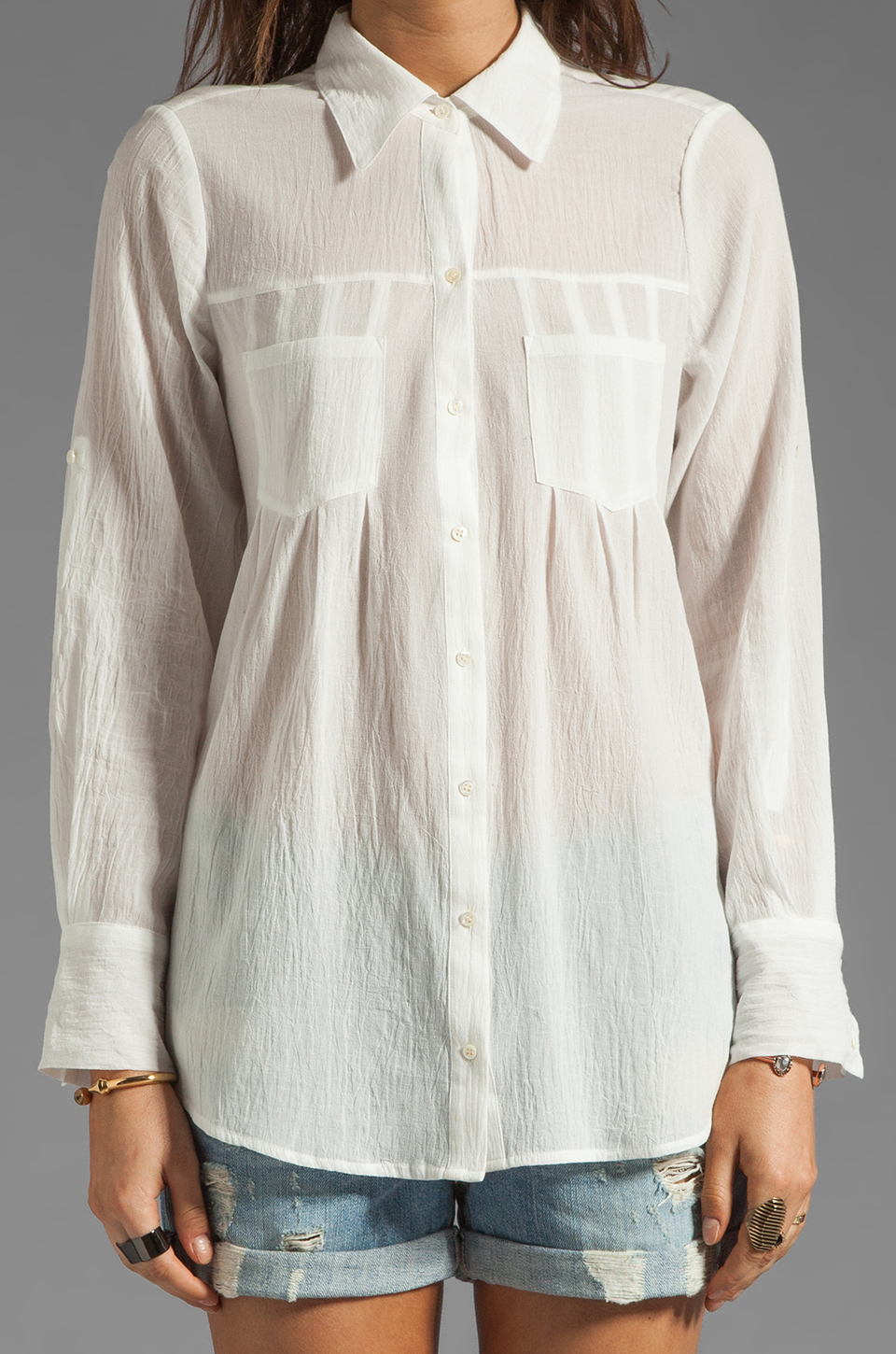 Joie Pinot Button Up in Porcelain
