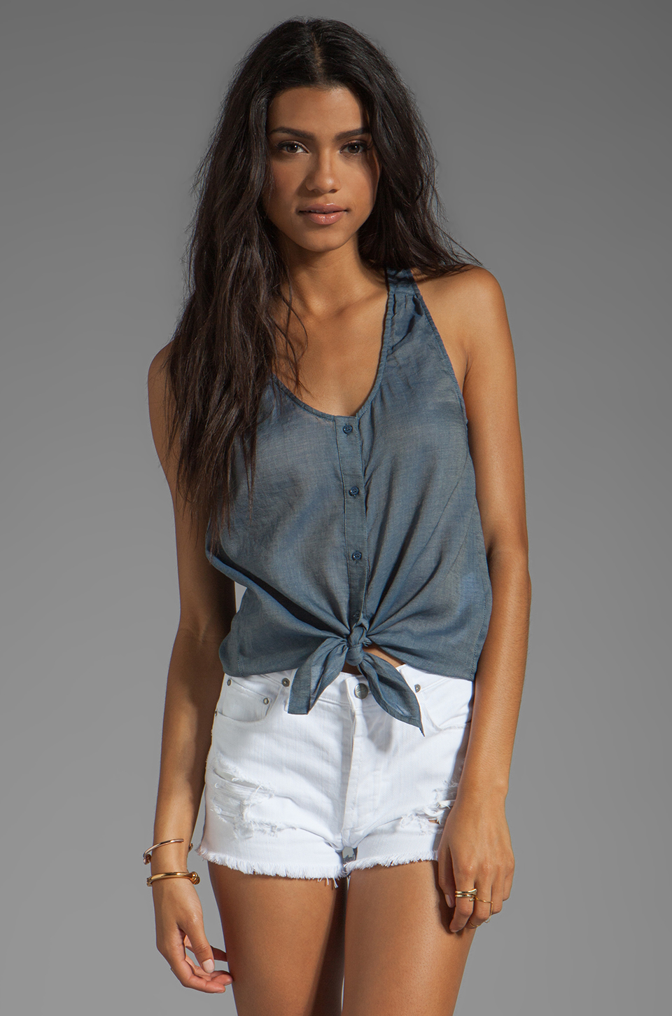 Joie Elisandra Denim Tank in Prairie Blue