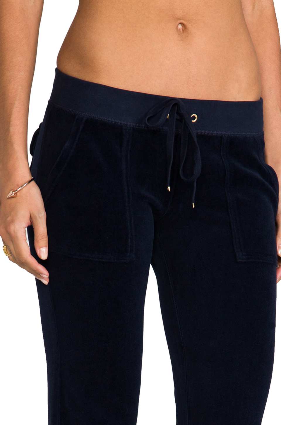 Juicy Couture Velour Bootcut Pant with Snap Pockets in Regal