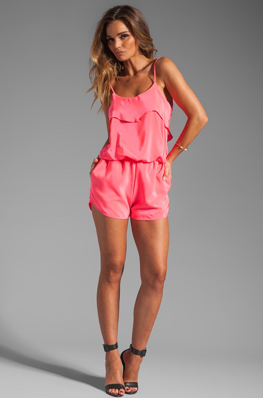 Karina Grimaldi Raffaela Solid Romper in Neon Pink