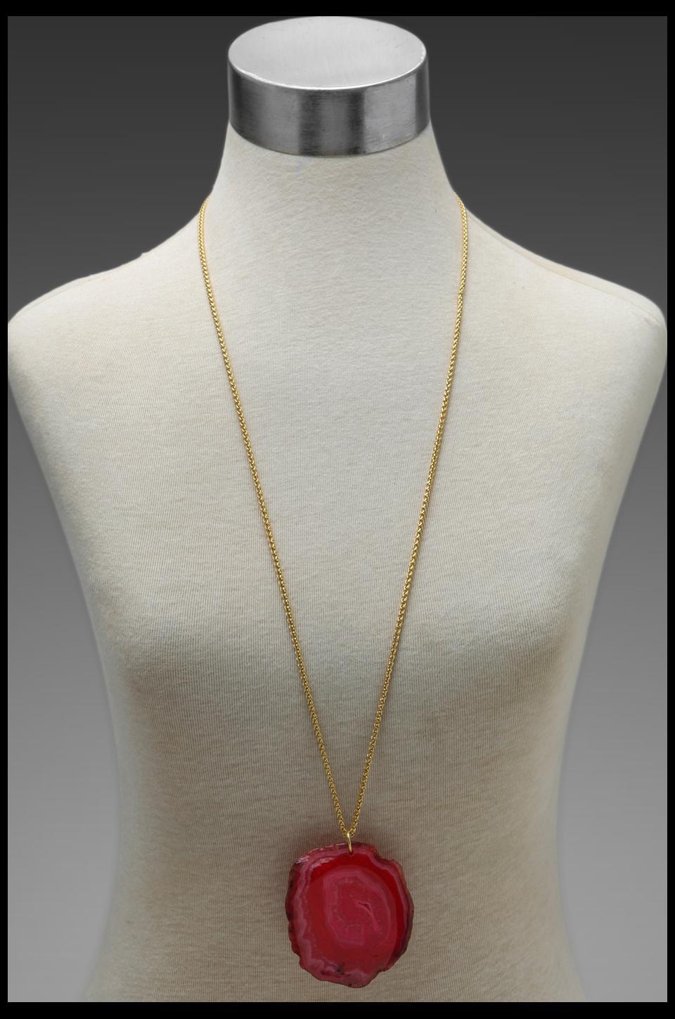 Kenneth Jay Lane 34' Gold Chain Pink Agate Pendant Necklace in Pink Agate