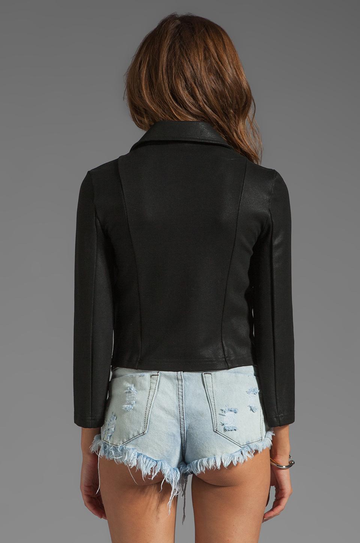 krisa Shrunken Coated Motorcycle Jacket in Black