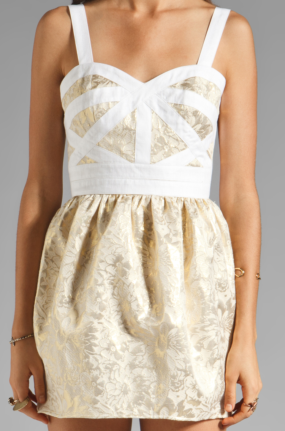 keepsake Bewildered Dress in Gold Print/Cream