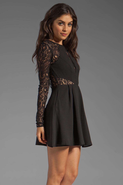 keepsake Walking on a Dream Long Sleeve Dress in Black/Black Lace