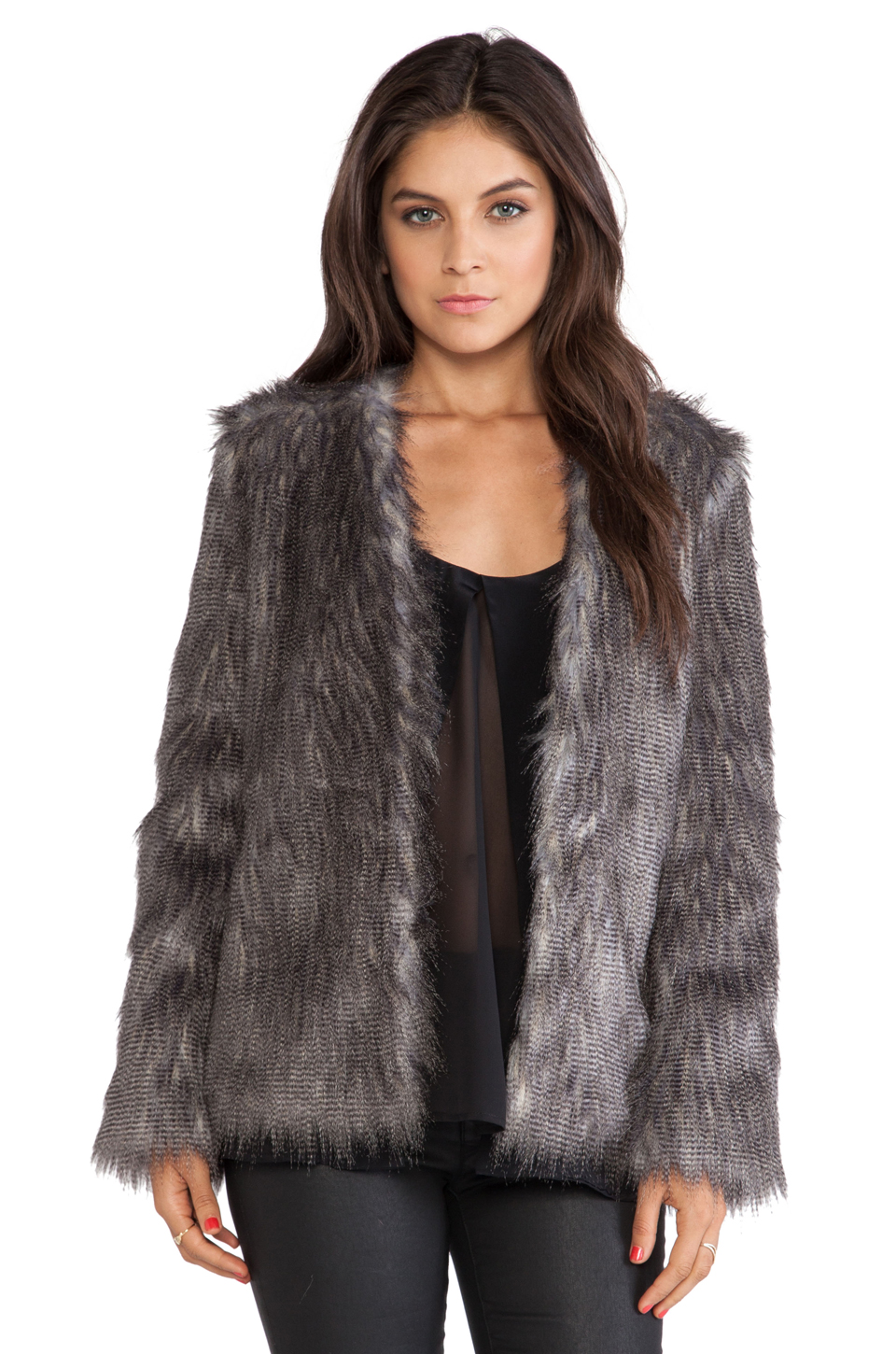 Ladakh Flecked Faux Fur Coat in Brown