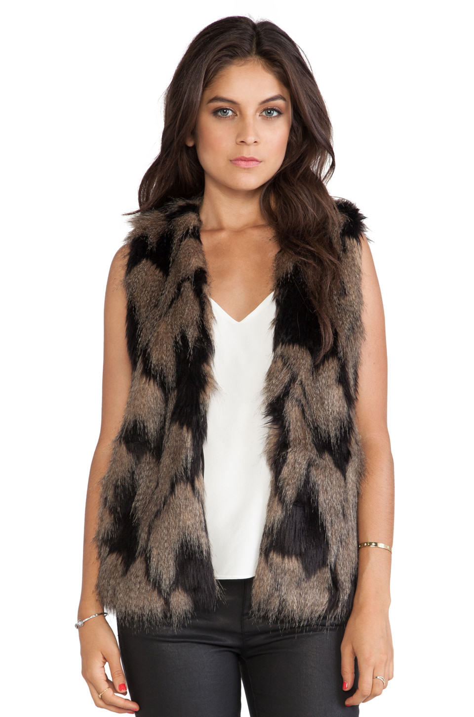 Ladakh Longline Faux Fur Vest in Brown