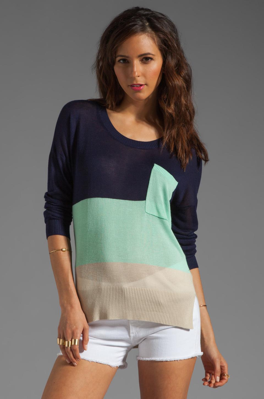 LA Made Colorblock Long Sleeve Sweater in Galaxy/Minty
