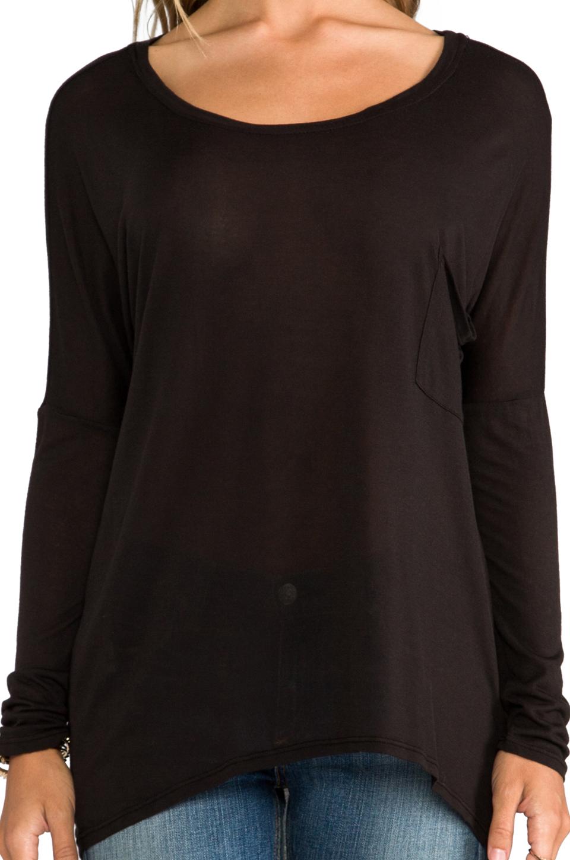 LA Made Micromodal Dropped Shoulder Top in Black