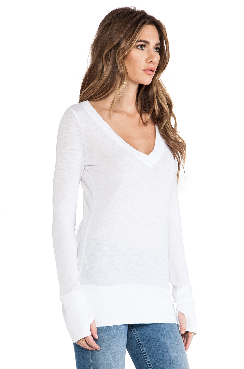 LA Made Slub Jersey Long Sleeve V Top in White