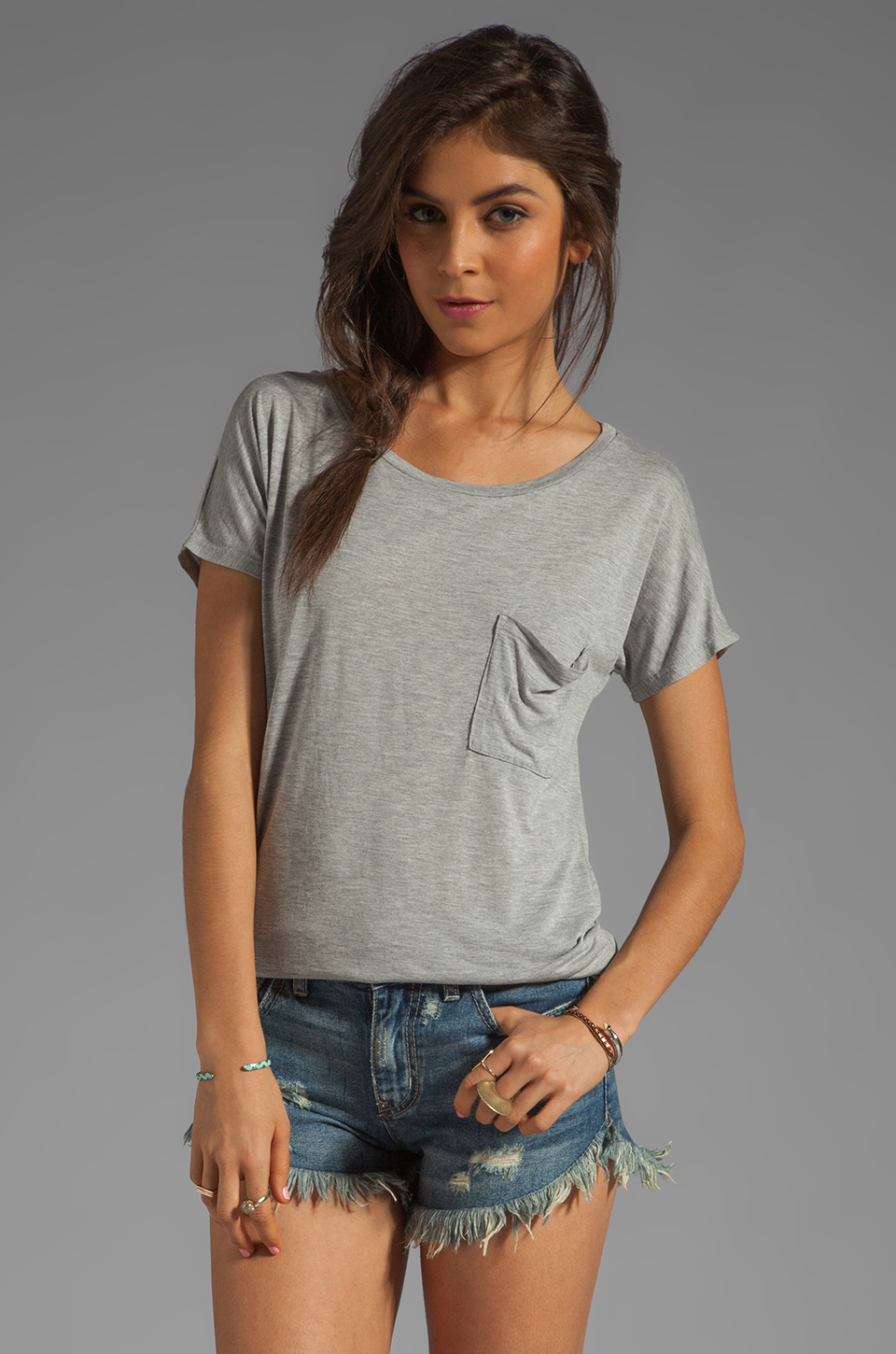 LA Made Micromodal Drop Shoulder Tee in Heather Grey