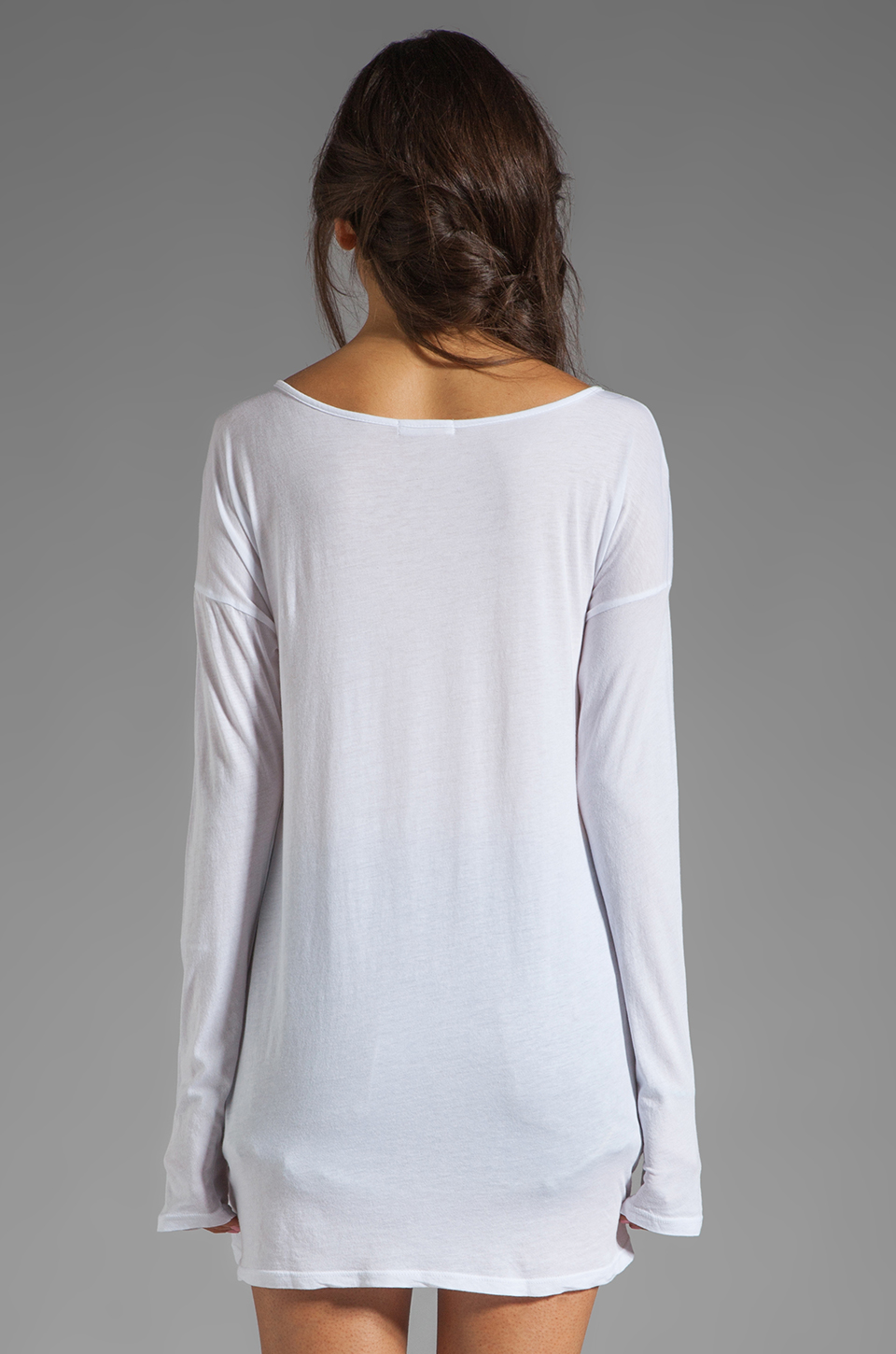 LA Made Supima Long Sleeve Boat Neck Tee in White